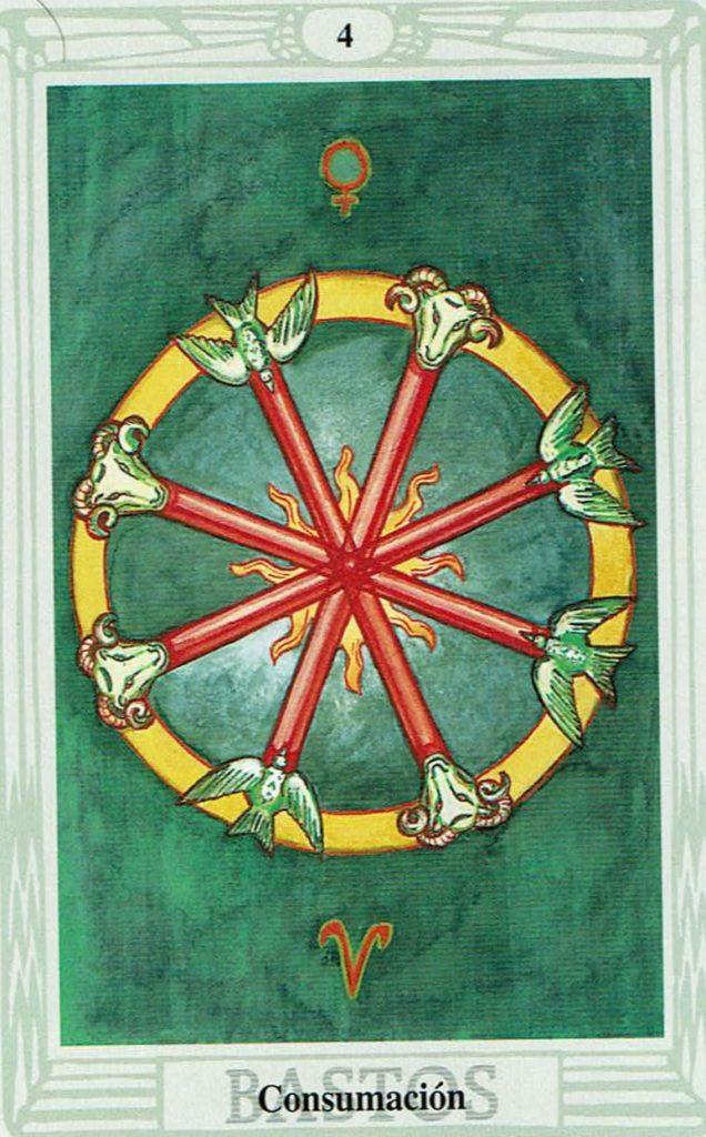 Cuatro de Bastos del Tarot Thoth