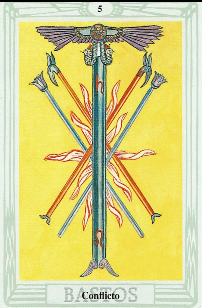 Cinco de Bastos del Tarot Thoth