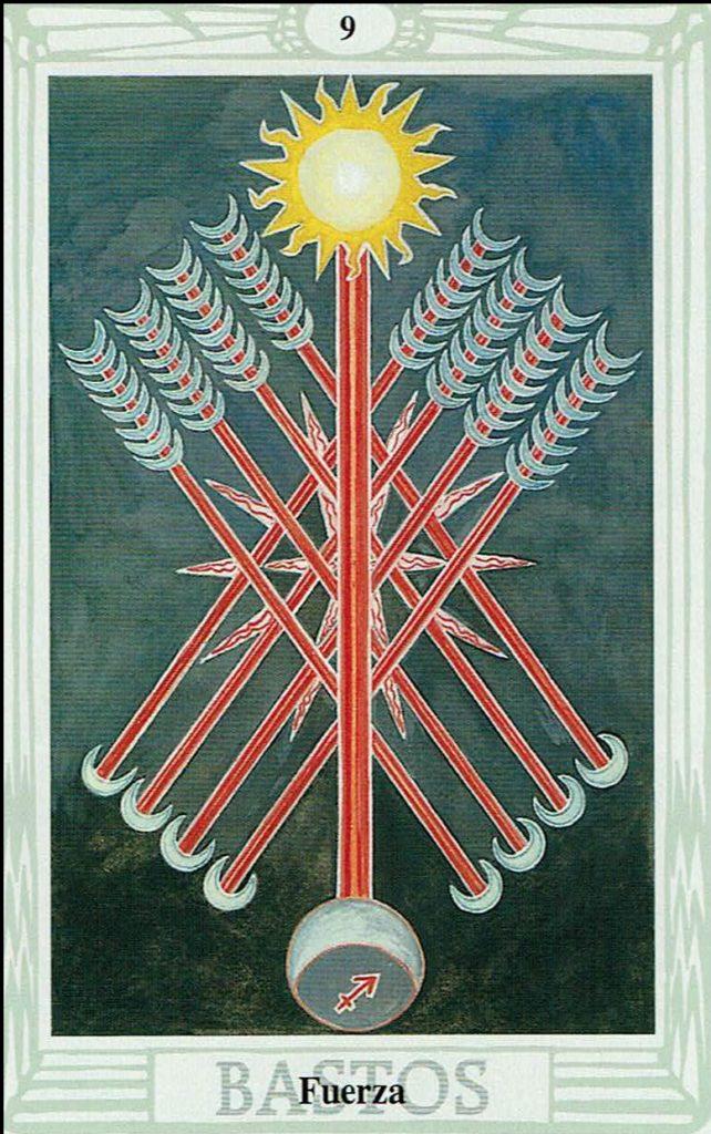 Nueve de Bastos del Tarot Thoth
